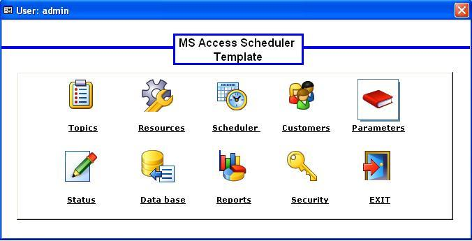 ms access html template - microsoft access scheduler database template main